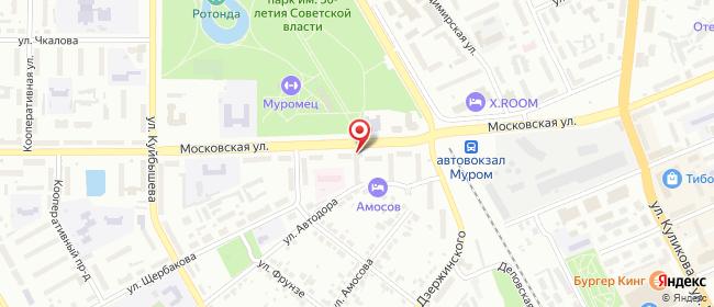 Карта расположения пункта доставки Муром Московская в городе Муром