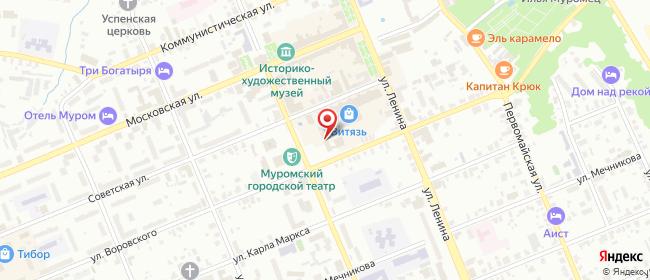 Карта расположения пункта доставки Ростелеком в городе Муром