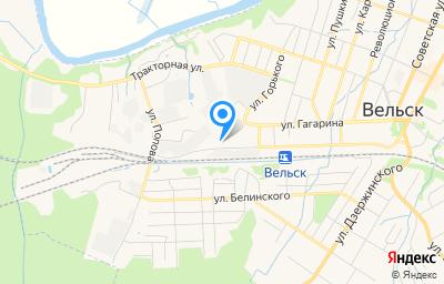 Местоположение на карте пункта техосмотра по адресу Архангельская обл, г Вельск, ул Привокзальная, д 54Б