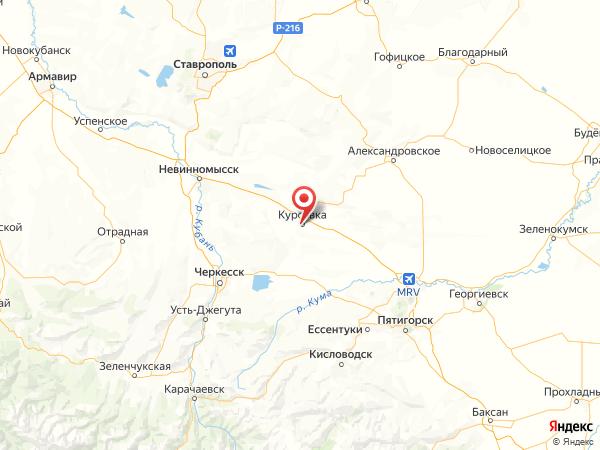 село Курсавка на карте