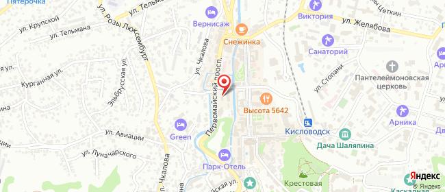 Карта расположения пункта доставки Ростелеком в городе Кисловодск
