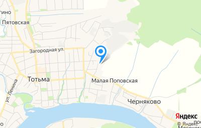Местоположение на карте пункта техосмотра по адресу Вологодская обл, г Тотьма, ул Кореповская, д 40Д