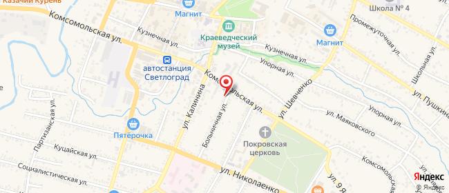 Карта расположения пункта доставки Больничная в городе Светлоград