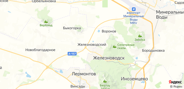 Железноводский на карте