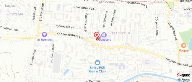 Карта расположения пункта доставки Пятигорск Коллективная в городе Пятигорск
