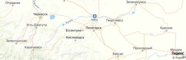 Кавказские минеральные воды на карте