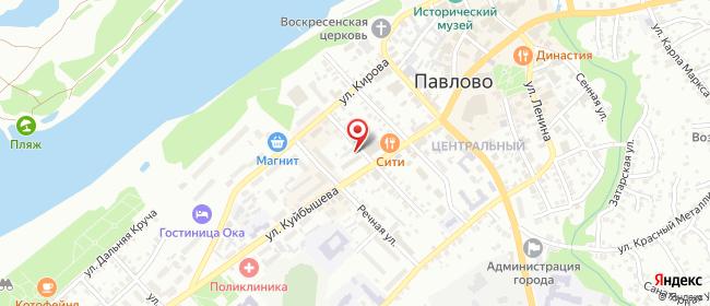 Карта расположения пункта доставки Ростелеком в городе Павлово