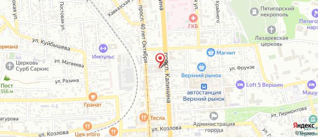 Карта расположения пункта доставки На Калинина в городе Пятигорск
