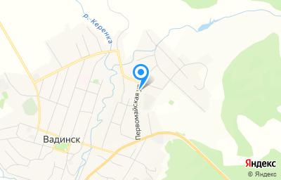 Местоположение на карте пункта техосмотра по адресу Пензенская обл, с Вадинск, ул Первомайская, д 1А