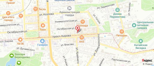 Карта расположения пункта доставки Ростелеком в городе Пятигорск