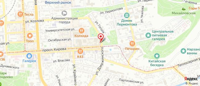 Карта расположения пункта доставки Пятигорск Дзержинского в городе Пятигорск