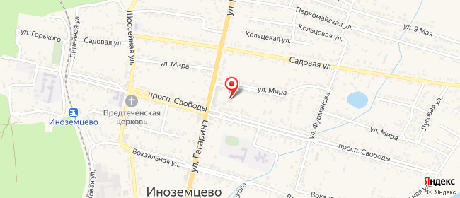 Карта расположения пункта доставки Билайн в городе Иноземцево