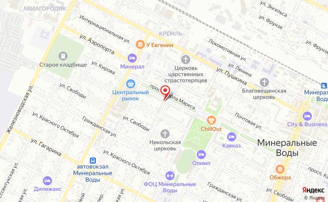 Карта расположения пункта доставки Халва в городе Минеральные Воды
