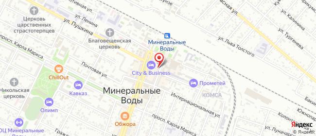 Карта расположения пункта доставки Минеральные Воды Карла Либкнехта в городе Минеральные Воды