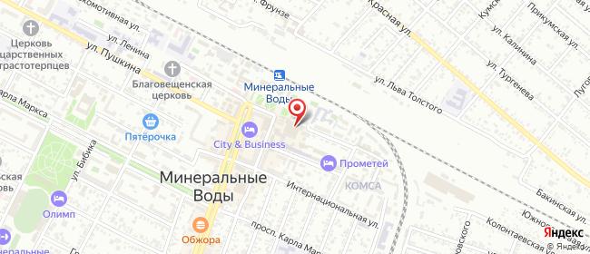 Карта расположения пункта доставки Билайн в городе Минеральные Воды