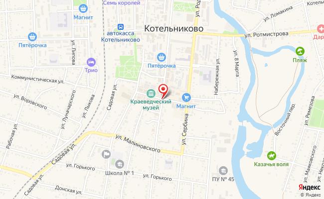 Карта расположения пункта доставки СИТИЛИНК в городе Котельниково