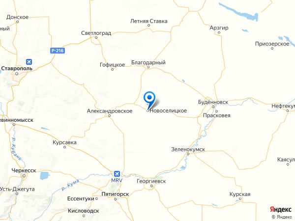 село Новоселицкое на карте