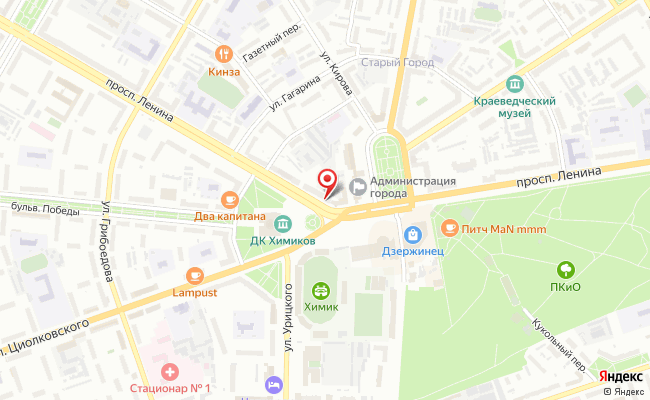 Карта расположения пункта доставки Ростелеком в городе Дзержинск