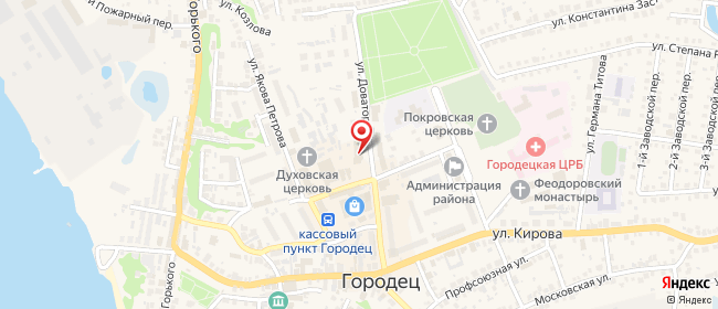 Карта расположения пункта доставки Ростелеком в городе Городец
