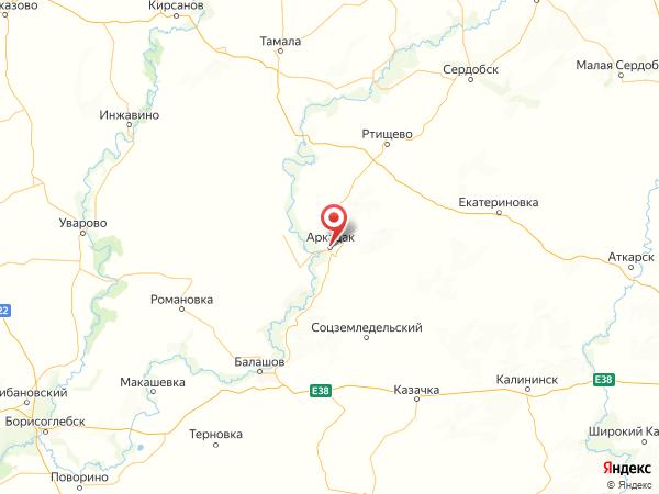 Аркадак на карте