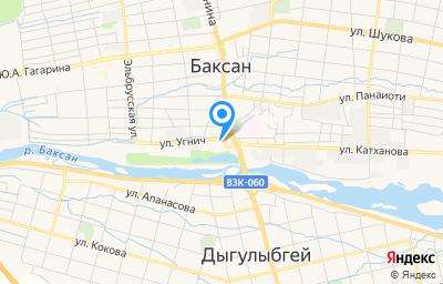 Местоположение на карте пункта техосмотра по адресу Респ Кабардино-Балкарская, г Баксан, пр-кт Ленина, д 1