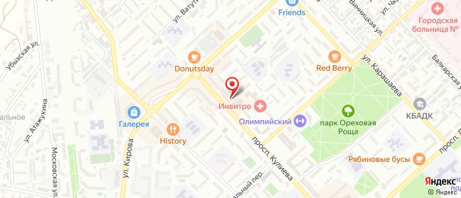 Карта расположения пункта доставки СИТИЛИНК в городе Нальчик