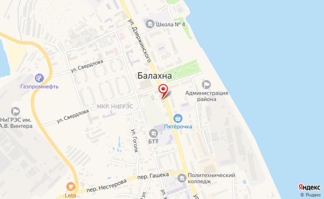 Карта расположения пункта доставки СИТИЛИНК в городе Балахна