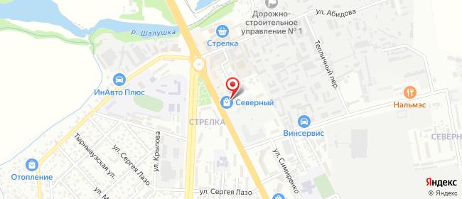 Карта расположения пункта доставки Нальчик Темрюка Идарова в городе Нальчик