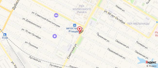 Карта расположения пункта доставки На Советской в городе Ртищево