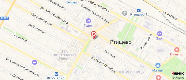 Карта расположения пункта доставки Ртищево Советская в городе Ртищево