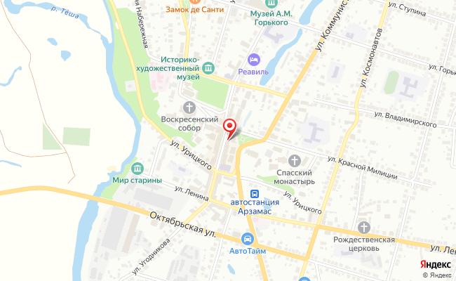 Карта расположения пункта доставки Ростелеком в городе Арзамас
