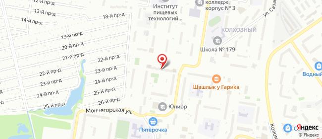 Карта расположения пункта доставки Нижний Новгород Мончегорская в городе Нижний Новгород