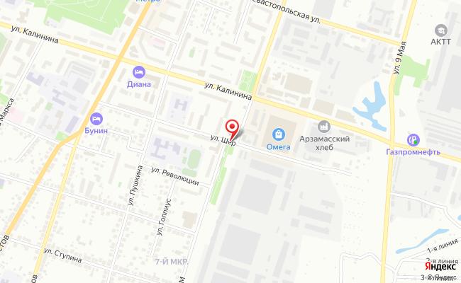 Карта расположения пункта доставки RoutExpress в городе Арзамас