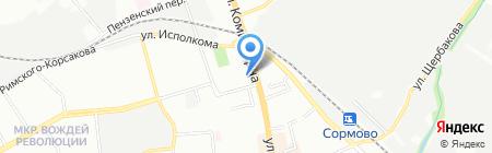 Мастерская по изготовлению ключей на ул. Коминтерна на карте Нижнего Новгорода