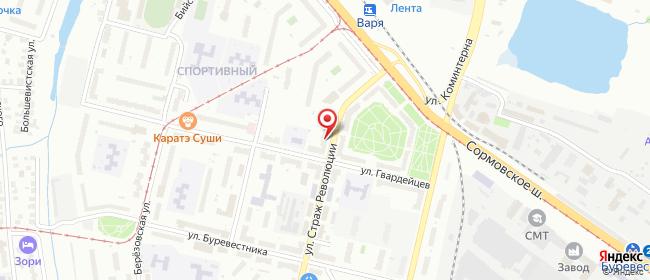 Карта расположения пункта доставки Нижний Новгород Страж Революции в городе Нижний Новгород