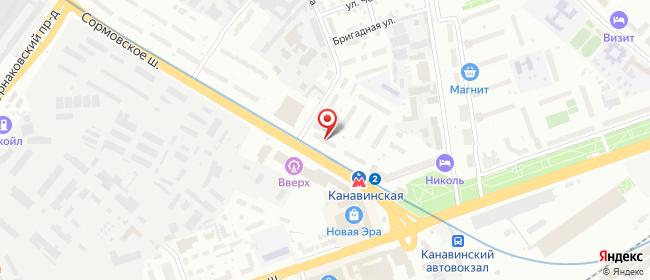 Карта расположения пункта доставки Нижний Новгород Сормовское в городе Нижний Новгород