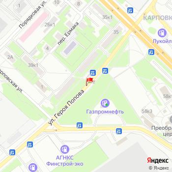 г. Нижний Новгород, ул. Попова, на карта