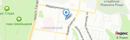 Столовая в Корейском переулке на карте Нижнего Новгорода
