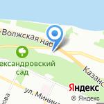 Александровский сад на карте Нижнего Новгорода