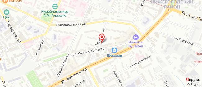 Карта расположения пункта доставки Нижний Новгород Максима Горького в городе Нижний Новгород