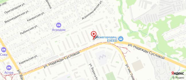Карта расположения пункта доставки Нижний Новгород Надежды Сусловой в городе Нижний Новгород