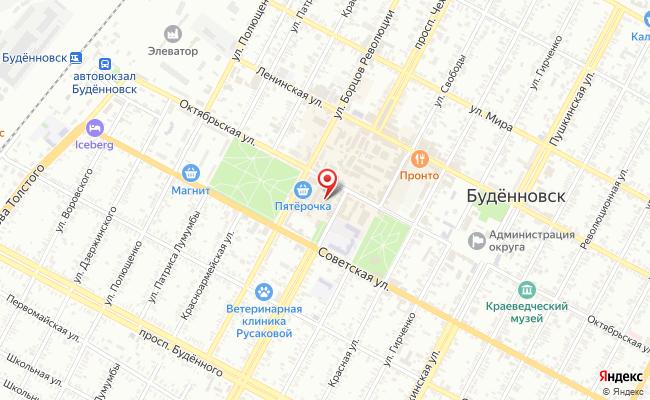 Карта расположения пункта доставки СИТИЛИНК в городе Буденновск
