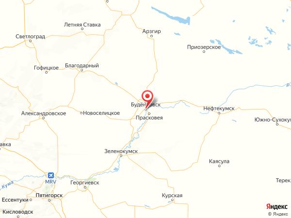 Будённовск на карте