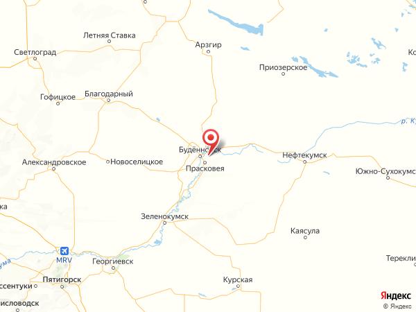 поселок Отделение совхоза Прасковейский на карте
