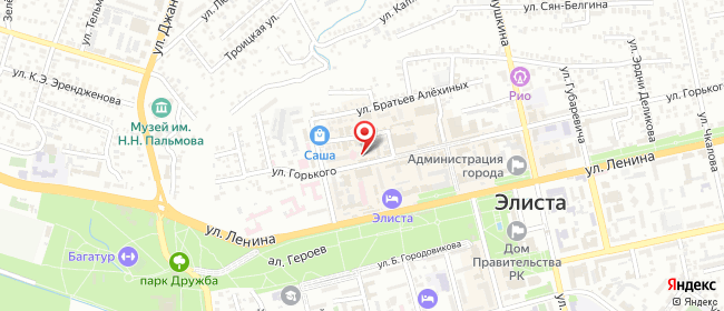 Карта расположения пункта доставки Билайн в городе Элиста
