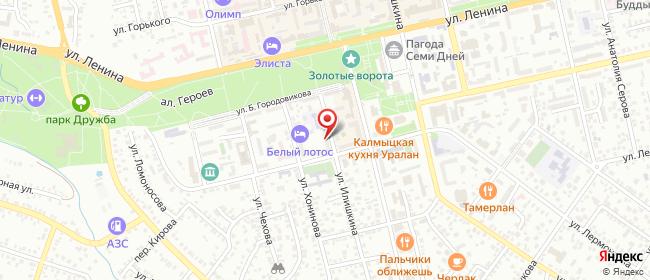Карта расположения пункта доставки Элиста Илишкина в городе Элиста