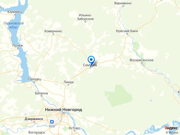 Семёнов на карте
