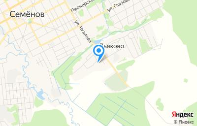 Местоположение на карте пункта техосмотра по адресу Нижегородская обл, г Семенов, д Дьяково, ул Луговая, д 9А