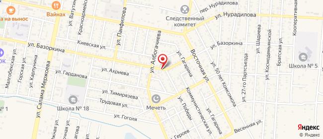 Карта расположения пункта доставки Билайн в городе Малгобек