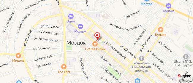 Карта расположения пункта доставки Ростелеком в городе Моздок